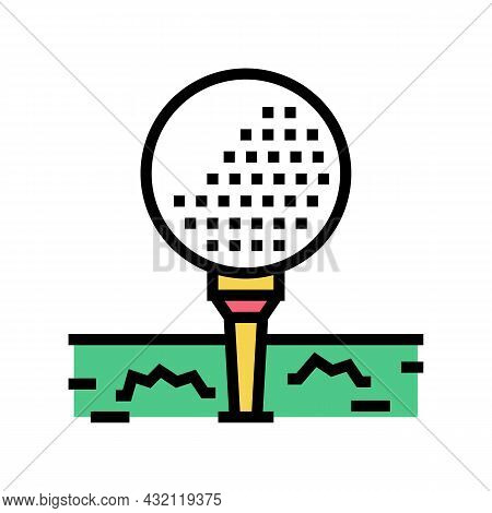 Ball On Golf Tee Stand Color Icon Vector. Ball On Golf Tee Stand Sign. Isolated Symbol Illustration