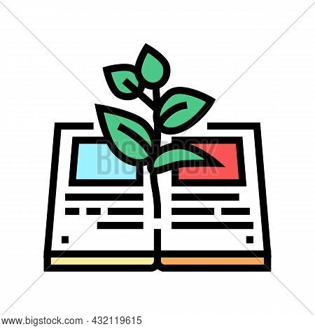 Reading Book For Growing Knowledge Color Icon Vector. Reading Book For Growing Knowledge Sign. Isola
