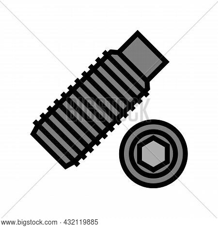 Set Screw Color Icon Vector. Set Screw Sign. Isolated Symbol Illustration