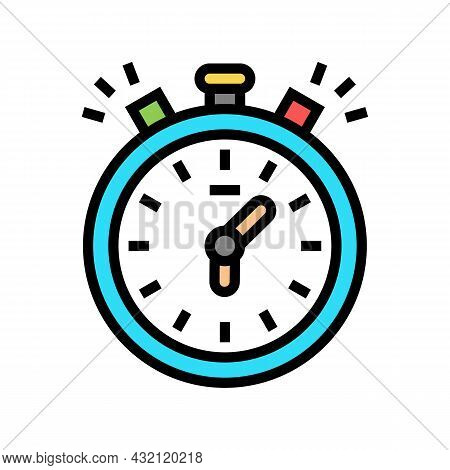 Stopwatch Playing Time Counting Color Icon Vector. Stopwatch Playing Time Counting Sign. Isolated Sy