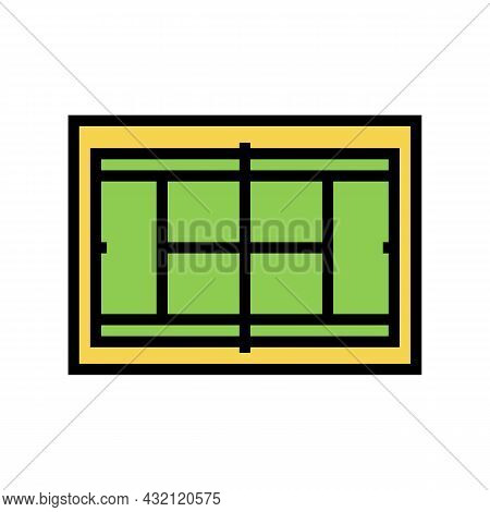 Court Tennis Playground Color Icon Vector. Court Tennis Playground Sign. Isolated Symbol Illustratio