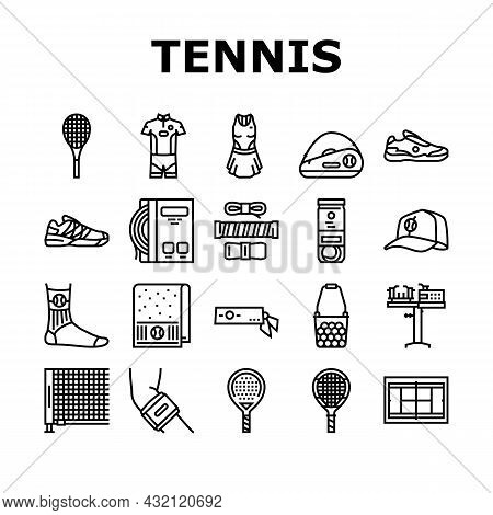 Tennis Sport Game Competition Icons Set Vector. Women And Men Tennis Apparel Clothes, Racquet And Ba