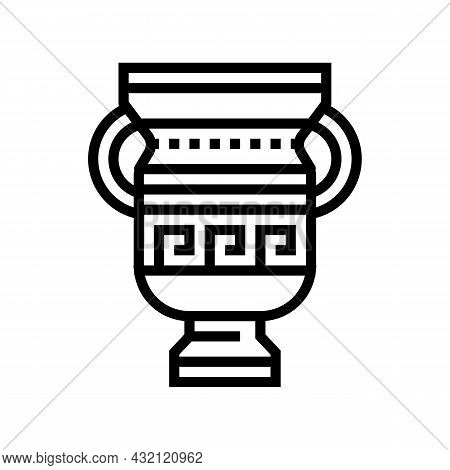 Amphora Ancient Greece Line Icon Vector. Amphora Ancient Greece Sign. Isolated Contour Symbol Black