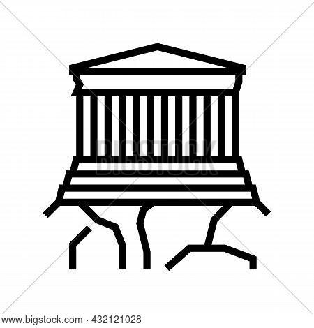 Acropolis Ancient Greece Architecture Building Line Icon Vector. Acropolis Ancient Greece Architectu