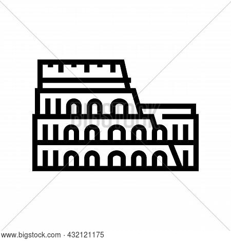 Coliseum Arena Ancient Rome Building Line Icon Vector. Coliseum Arena Ancient Rome Building Sign. Is