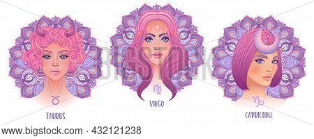 Zodiac Girls Set: Earth. Vector Isolated Illustration Of Taurus, Capricorn And Virgo Strological Sig