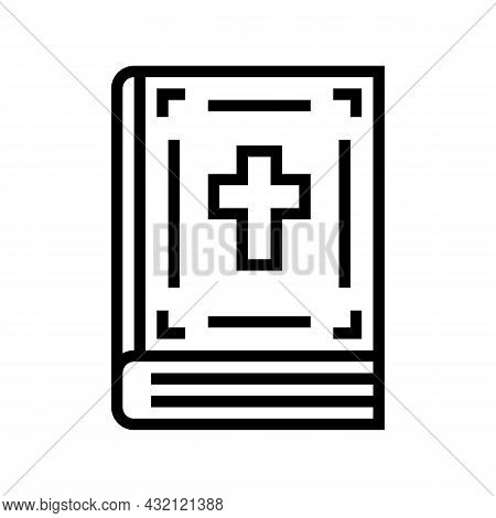 Bible Christianity Book Line Icon Vector. Bible Christianity Book Sign. Isolated Contour Symbol Blac