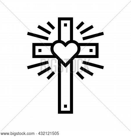 Faith Christianity Line Icon Vector. Faith Christianity Sign. Isolated Contour Symbol Black Illustra