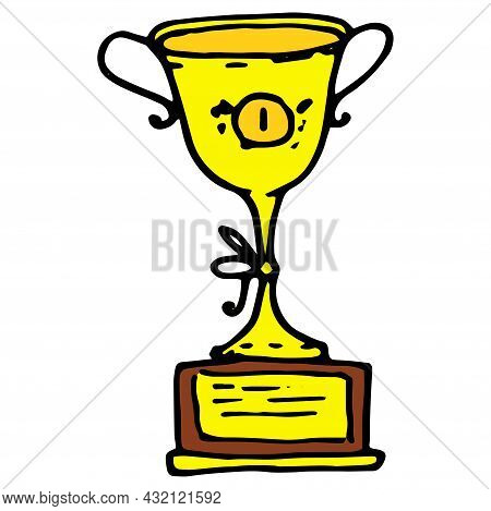 Vector Gold Cup. A Yellow Cup With The Number One In The Style Of Doodles With A Black Outline On A