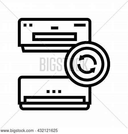 Air Conditioning Replacement Line Icon Vector. Air Conditioning Replacement Sign. Isolated Contour S