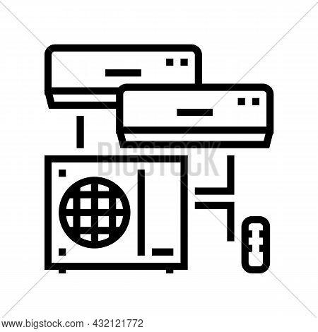 Split System Line Icon Vector. Split System Sign. Isolated Contour Symbol Black Illustration