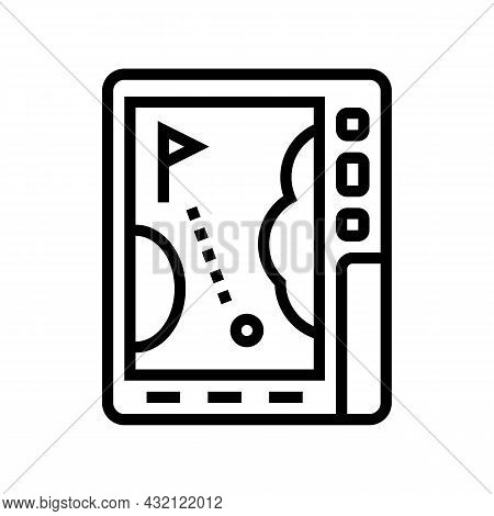 Gps Device Golf Game Line Icon Vector. Gps Device Golf Game Sign. Isolated Contour Symbol Black Illu