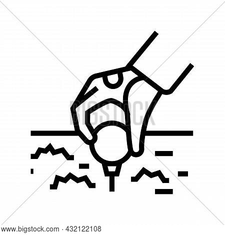 Golf Player Putting Ball On Tee Stand Line Icon Vector. Golf Player Putting Ball On Tee Stand Sign.