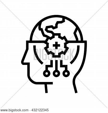World Knowledge Line Icon Vector. World Knowledge Sign. Isolated Contour Symbol Black Illustration