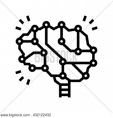 Neuron Knowledge Brain Line Icon Vector. Neuron Knowledge Brain Sign. Isolated Contour Symbol Black