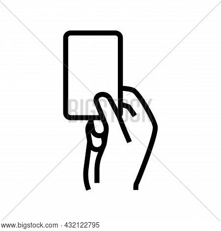 Red Card From Arbitrator Line Icon Vector. Red Card From Arbitrator Sign. Isolated Contour Symbol Bl