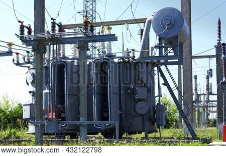 Electrical Power Transformer In High Voltage Substation 110 Kilovolts. Electrical Power Distribution