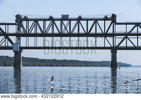 Danube Bridge, Steel Truss Bridge Over The Danube River Connecting Bulgarian And Romanian Banks Betw
