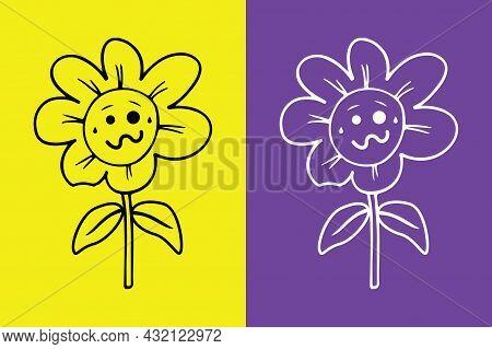 Flower Exhausted Face Emoji - Woozy Face Emoji - Vector File