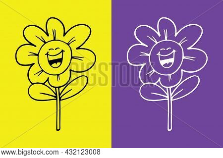 Flower Smiling Face With Open Mouth Emoji, Lol Emoji - Vector File