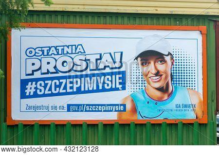 Szczyrk, Poland - June 6, 2021: Billboard With Iga Swiatek That's Persuading The Public To Take The