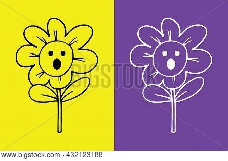 Flower Surprised Face Emoji - Astonished Emoji - Vector File