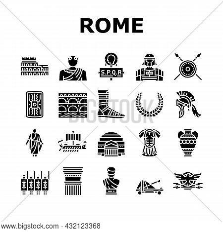 Ancient Rome Antique History Icons Set Vector. Ancient Rome Amphora Vase And Sword, Warrior Legionar