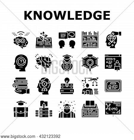 Knowledge And Mind Intelligence Icons Set Vector. World Knowledge And University Diploma, Asking Que