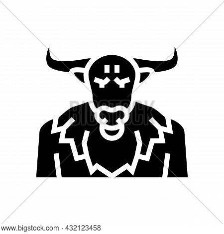 Minotaur Ancient Greece Glyph Icon Vector. Minotaur Ancient Greece Sign. Isolated Contour Symbol Bla