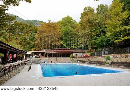 Loutra, Aridea, Greece-october 13: The Tourists Swimming In Water From Hot Springs In Loutra, Aridea