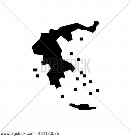 Greece Map Civilization Glyph Icon Vector. Greece Map Civilization Sign. Isolated Contour Symbol Bla