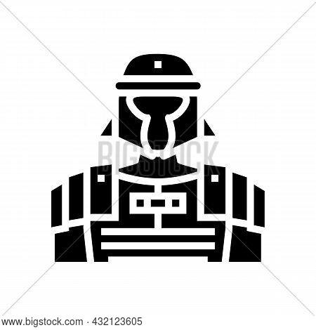Legionary Ancient Rome Warrior Glyph Icon Vector. Legionary Ancient Rome Warrior Sign. Isolated Cont
