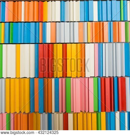 Tidy Shelf With Colorful Wooden Blocks: Green, Red, Blue, Orange, Pink, White, Gray. Portugal