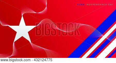 Star Shape Vector Illustration With Simple Smoke Line Effect Design. Cuba Independence Day Design. G