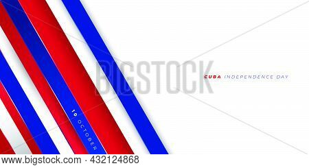 Red Blue And White Geometric Background Design. Cuba Independence Day Design. Good Template For Cuba