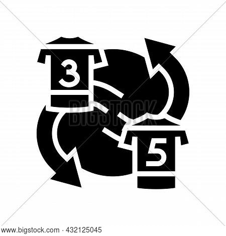 Exchange Players T-shirt Glyph Icon Vector. Exchange Players T-shirt Sign. Isolated Contour Symbol B