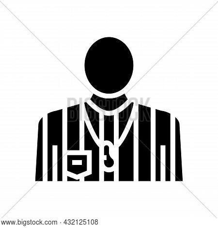 Arbitrator Judge Or Referee Soccer Glyph Icon Vector. Arbitrator Judge Or Referee Soccer Sign. Isola