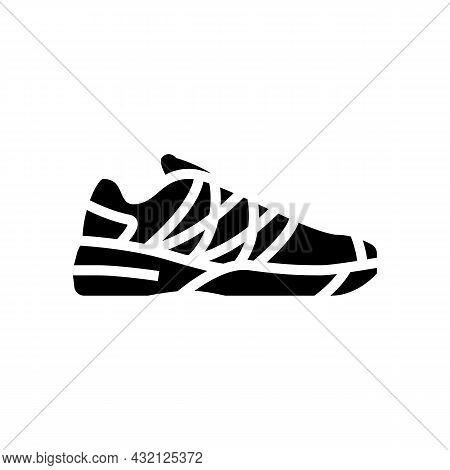 Women Tennis Shoe Glyph Icon Vector. Women Tennis Shoe Sign. Isolated Contour Symbol Black Illustrat