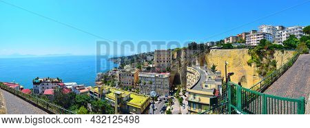 Wonderful Panoramic View From The Hill On The Coast Of Naples. Houses On The Shore Of The Gulf Of Na