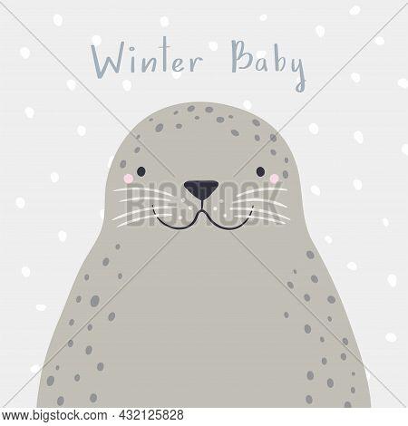 Cute Cartoon Seal Portrait, Quote Winter Baby, Snow. Hand Drawn Vector Illustration. Winter Animal C