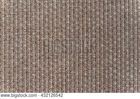 Background Of Large Brown Textile. Fabric Background Texture. Large Detailed Horizontal Textured Mac