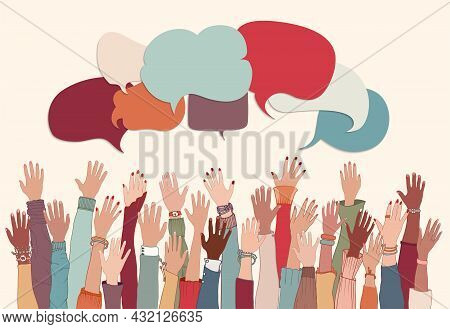 Anonymous Arms And Raised Hands Of Multiethnic Multicultural Group People. Racial Equality.speech Bu