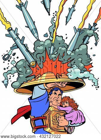 A Superhero Saves Children. The Anti-missile Shield Of Israel And Other Countries. Protecting Civili