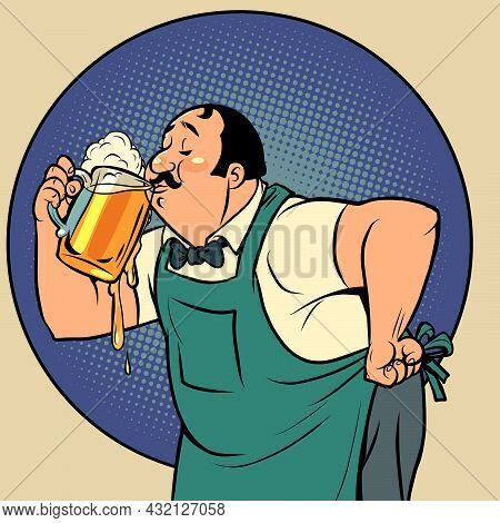 The Bartender Drinks Beer. A Man And A Soft Draught Drink. Alcoholic Pub