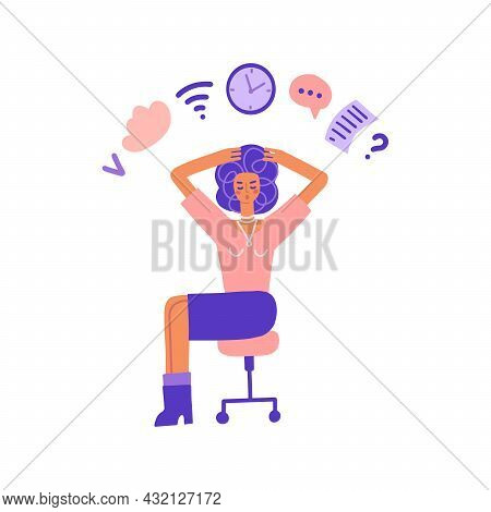 Multitasking And Time Management Concept. Business Woman Doing Multiple Tasks At Once. Busy Woman Ho