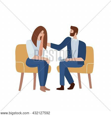 Woman Talking To Psychotherapist And Crying. Male Psychologist Sits In A Chair And Listens To The Cl