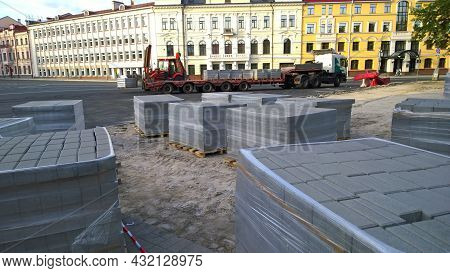 Pskov, Russia - July 24, 2021: Construction Site In Square Of City Center. Block Of Contemporary Sto