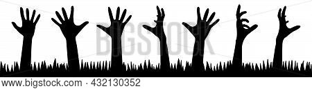 A Set Of Zombie Hands From The Ground. Collection Of Silhouettes Of Human Hands From Graves. Set Of