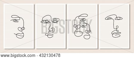 A Poster With A One Line Drawn Man In A Minimalistic Elegant Style. Abstract Face Of Woman And Man.