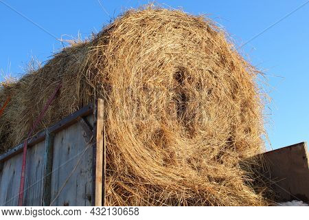Large Sheaf Of Hay In The Back Of An Old Truck